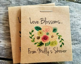 Personalized MINI Floral Wedding Shower Flower Seed Packet Favors Wild in Love Wildflower Seeds Love Blossoms - Love Blooms Wedding Favors