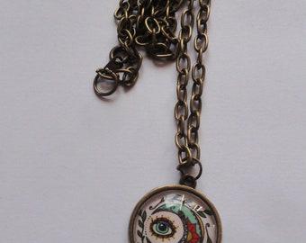 Bohemian spirit chain eye cabochon pendant necklace bronze