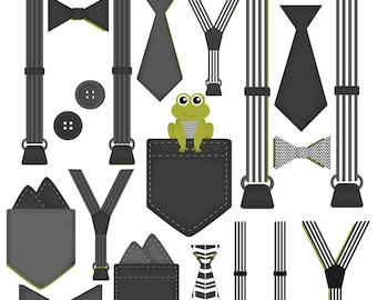 Boy Onesie Accessories Clip Art Pocket Handkerchief Suspender Tie Bow Tie Clip Art Little Gentleman Black White Gray