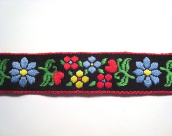 Floral Trim- Vintage Folk, Black with Blue, Yellow, & Red Flowers, Red Edging- 3 3/8 yds.