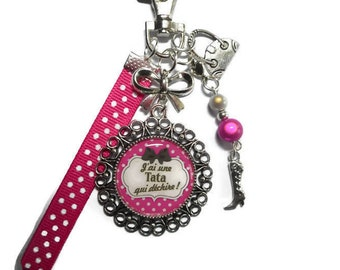"""Keychain bag charm / """"Auntie /""""I have an aunt that rocks!"""""""" / year end gift/birthday/party/thanks /noel"""