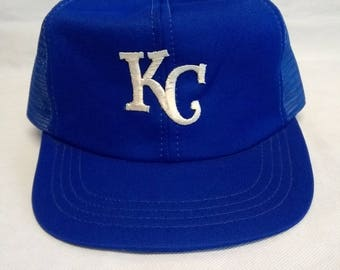 Vintage 80's Kansas City Royals Trucker Mesh Snapback Hat Nwot