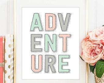 Adventure Print, Peach and Mint, Printable Nursery Art, Peach and Mint Decor, Adventure Printable, Girls Room Art, Nursery Printable