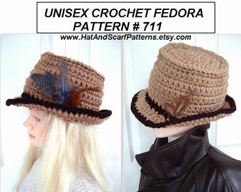 Adult Unisex Fedora Hat, CROCHET PATTERN - Age 12 to Adult large - crochet supplies, craft supplies, men, women, teens, pdf digital download