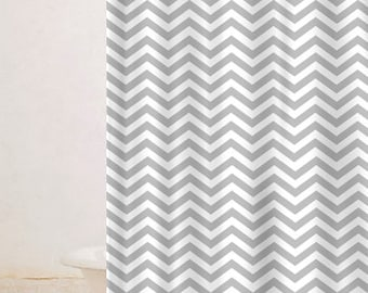 Custom Colors Shower Curtain -White Topped -Chevron Bottom ANY colors and Accent