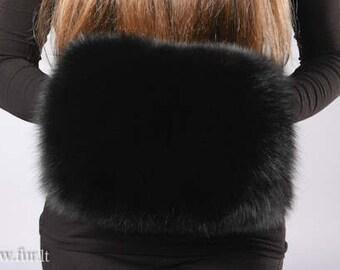 Handmade black fox fur muff