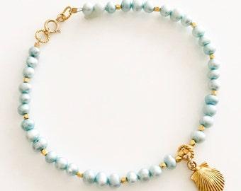 Wife Gift Blue - Blue Gold Bracelet - Blue Bracelet - Girlfriend Gift - Gift for Mom - Sister Gift For Her - Turquoise - Delicate Bracelet