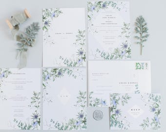 Ethereal - Semi-custom Coastal Botanical Wedding Invitation Suite