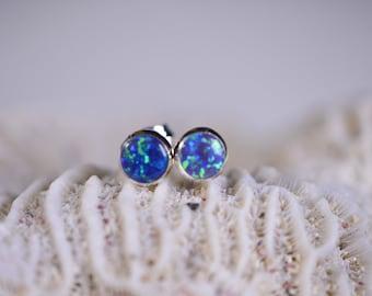 Blue Opal Stud Earrings  Post Earrings Gemstone Jewelry Birthstone October