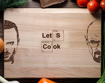 Breaking Bad Personalized Cutting Board Custom engraved cutting board Wedding gift Walter White Jesse Pinkman Let's Cook breaking04