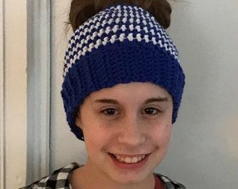 Crochet Messy Bun Beanie Blue and White