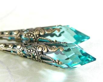 Aqua Green Earrings Antique Gold Aquamarine Earrings Swarovski Crystal Earrings Victorian Jewelry Teardrop Earrings Long Drop Earrings