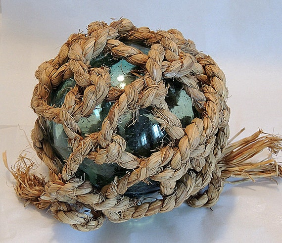 """Vintage 16"""" In Circumference Japanese GLASS FISHING FLOAT.. Unique Net & Straw Marks (#63)"""