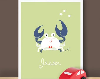 Custom Baby Print - Under The Sea - Crab - 8.5 x 11 inches