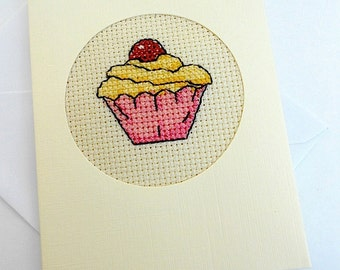 Cross Stitch Cupcake Card
