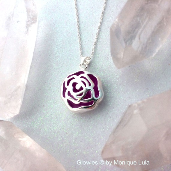 Purple Enchanted Rose Glowing Flower Necklace