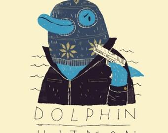 Dolphin Hitman funny animals T-shirt / dolphin tee / Hitman shirt