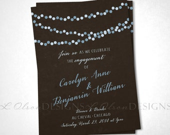 City Lights Engagement or Save the Date - Blue Brown - DIY Printable