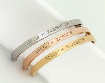 Couples Bracelets Coordinates Sets Personalized Couples Bracelets Metal coordinate bracelet Long Distance Relationship latitude longitude b3
