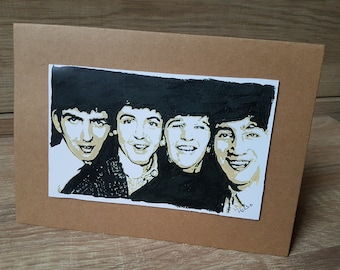 The Beatles Greeting Card (Hand Painted Print)