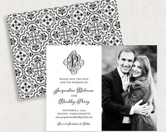 Monogram Save the Dates, Monogram Save the Date Magnets, Black and White Save the Dates, Calligraphy Save the Dates, Printable Save the Date