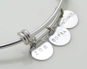 Custom Bracelet With Kids Names//Silver, Rose Gold or 16k Gold Plated//Name Bangle//Mother's Bracelet//Personalized Mom Gift//Teacher Gift//