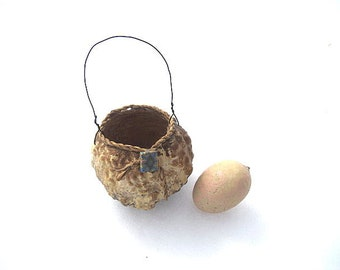 TAN GOURD basket Hanging Autumn  or Holiday ORNAMENT