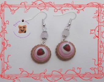 Fimo strawberry pie earrings