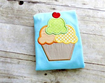 Ice Cream Bubble, Boys Ice Cream Romper, Summer, Ice Cream Sundae Shirt, Boys Romper, Boys Bubble, Aqua Bubble, Ice Cream With Cherry