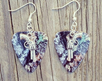 Mossy Oak Camo Camouflage guitar pick earrings with silver gun pistol charm for hunting country shooting farm girl gift jewelry