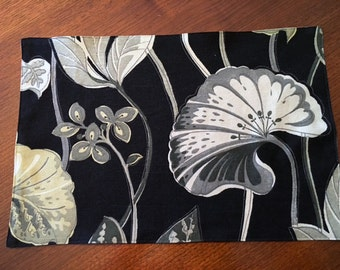 Black and Floral Fabric Placemat Sets