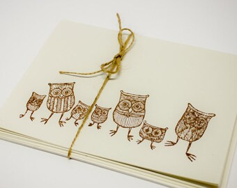 Owls Blank Cards Folded Set of 5 hand stamped teacher gift card with envelope cute fun funky