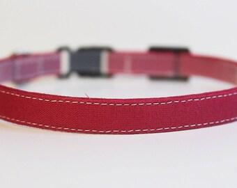 Wine Red Cat Collar Solid | Breakaway Cat Collar | Handmade | Adjustable | Small Dog Collar | Kitten Collar | Small Dog Collar | Pet Collar