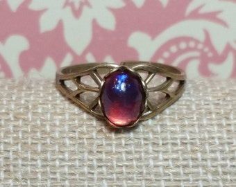 Red Dragons Breath Ring, Dragons Breath, Antique Style Ring, Victorian, Vintage Style, Red Mexican Opal Ring, Brass Ring, Adjustable