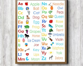 Alphabet Chart Printable Wall Art - Classroom Wall Decor- Colorful Kids Room /Nursery- Educational Poster- Alphabet Pictures- Bright Colors