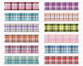 "Washi Tape Clipart: ""Plaid Washi Tape Clipart"" Washi Scrapbook, Digital Washi Tape, Plaid Patterns, Tag Scrapbook, Digital Tape Clipart"