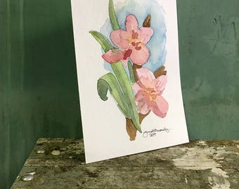 orchids / original watercolor / one of a kind painting