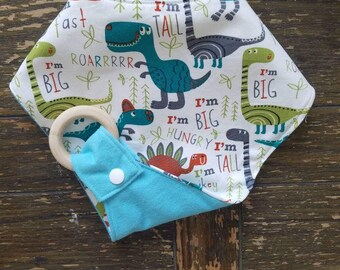 DINO with Light Blue Waterproof Reversible Interchangeable Teething Bib
