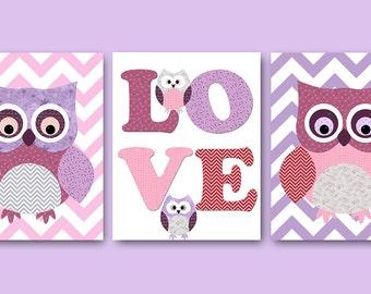 Owl Decor Owl Nursery Printable Art Instant Download Digital Art Baby Room Decor Digital Download Baby Girl Nursery set of 3 8x10 11X14 pink