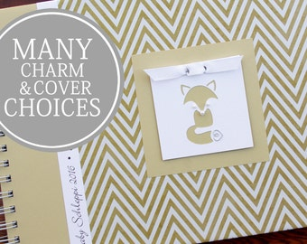 Baby Shower Guest Book | Fox Guestbook | Forest Woodland Animals | Personalized Memory Book | Gender Neutral | Gold Chevron