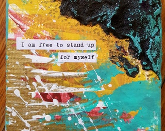 NEW! Magnet Mini Original Canvas 4 x 4 Inch - Affirmation - Free to Stand Up
