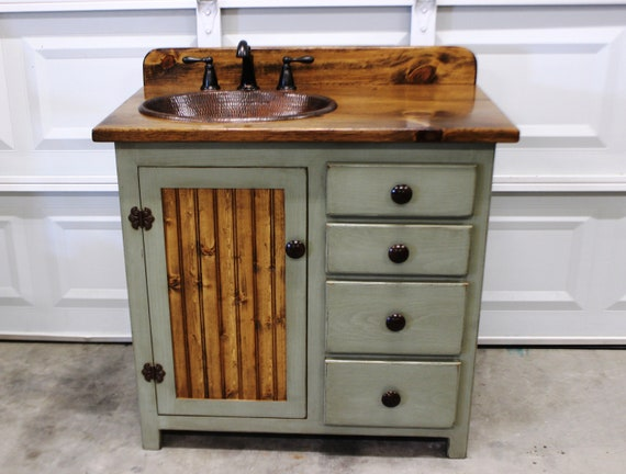 "Bathroom Vanity - 36"" - Rustic Farmhouse Bathroom Vanity - Sage Green - Bathroom Vanity w/ Drawers - Rustic Bathroom Vanity - Copper Sink"
