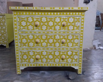 floral design bone inlay 3 drawer mustard color cabinet # chest # dresser