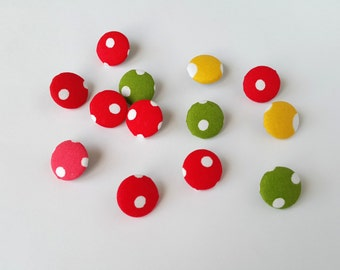Fabric Buttons, Set of 12 Fabric Buttons, Polka Dots Fabric, Fabric Covered Buttons, Handmade Buttons, Polka Dots Fabric Buttons