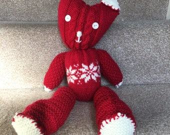 Hand knitted fair isle patchwork bear made with aran wool