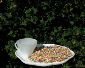 Bird Feeder Bird Bath Vintage Milk Glass Yard Art