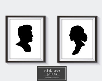 Custom Couples Silhouette Portraits - Silhouette Print, Wedding Gift, Wedding Shower Gift, Housewarming Gift, Couples Silhouette