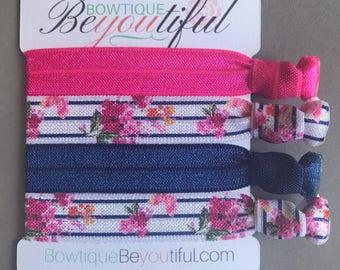 Elastic Hair Tie - Hair Tie Bracelet - Hair Tie Set - Ribbon Hair Ties - Creaseless Hair Ties - Spring Hair Ties - Pink Hair Ties
