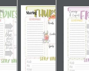 FLORAL Theme Planner Pages Sat-Sun
