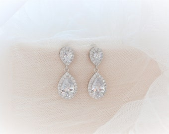 Vintage Inspired Long Crystal Bridal Earrings, Bridal Earrings, Dangle Earring